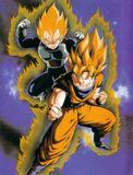 Vegeta y Goku expandiendo su ki