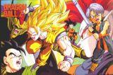 Goku como Super Saiyajin fase 3 y Trunks usando por primera vez su espada